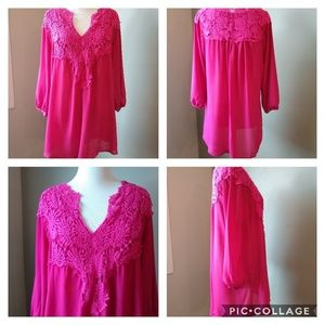 Lucky Pink Long Sleeve Lace Blouse XL